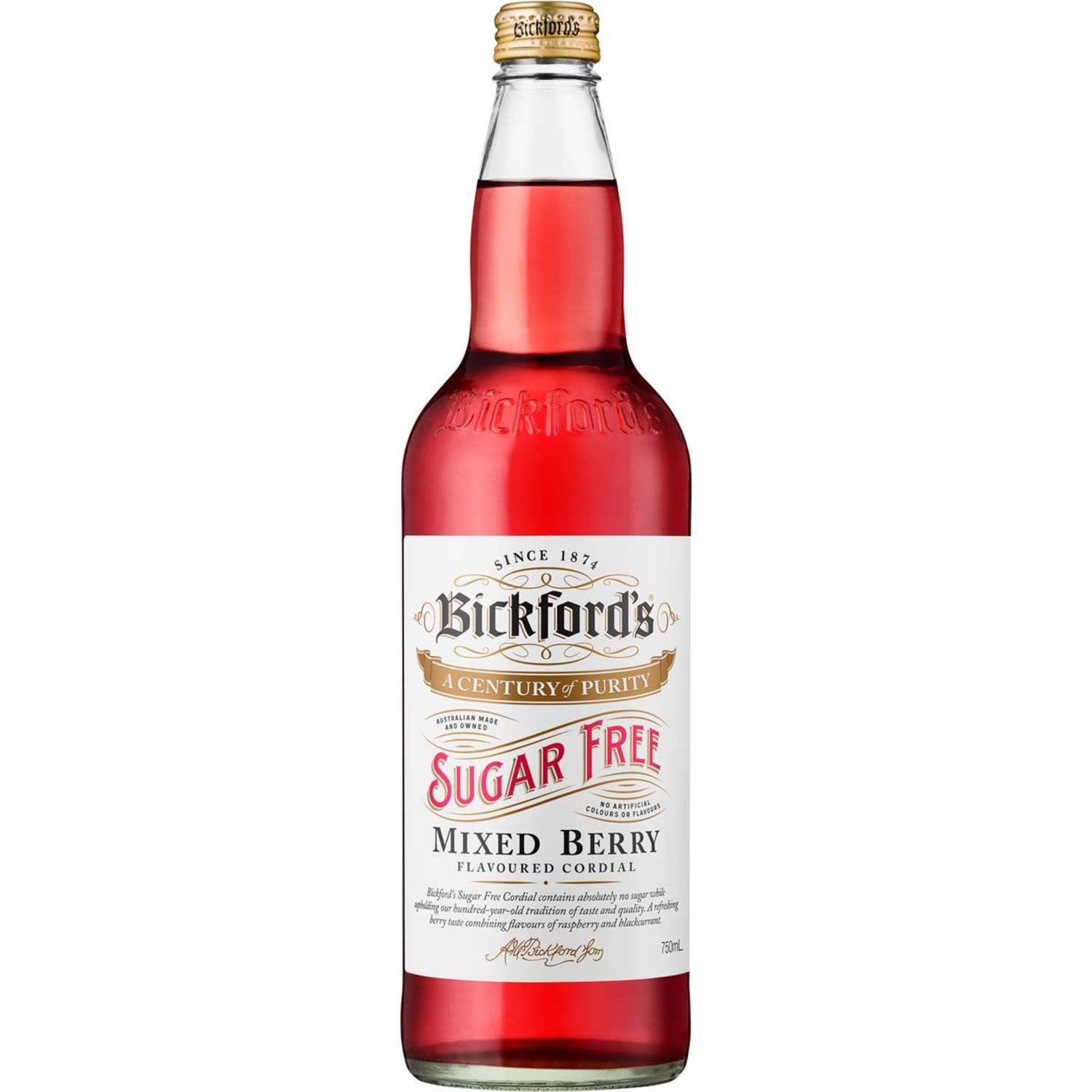 Bickford's Sugar Free Mixed Berry Flavoured Cordial, 750 Millilitre