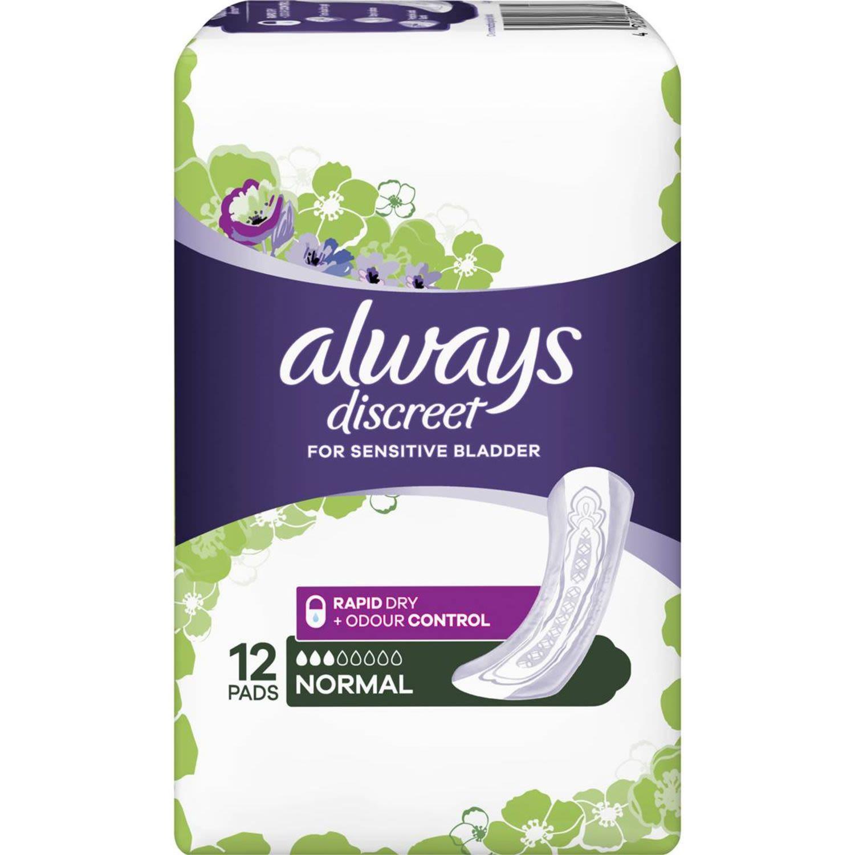 Always Discreet Pads Normal, 12 Each