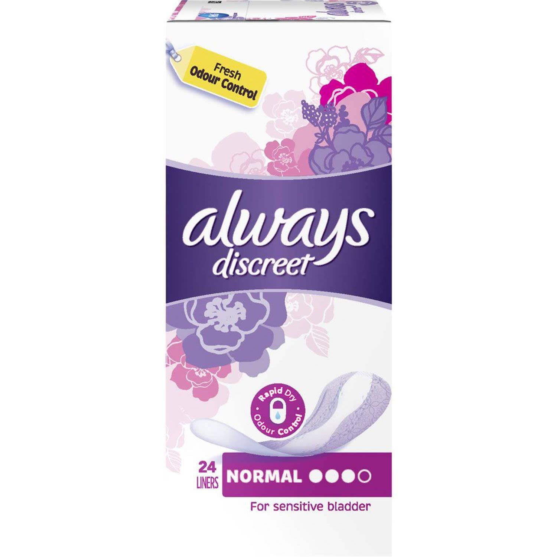 Always Discreet Liners Normal, 24 Each