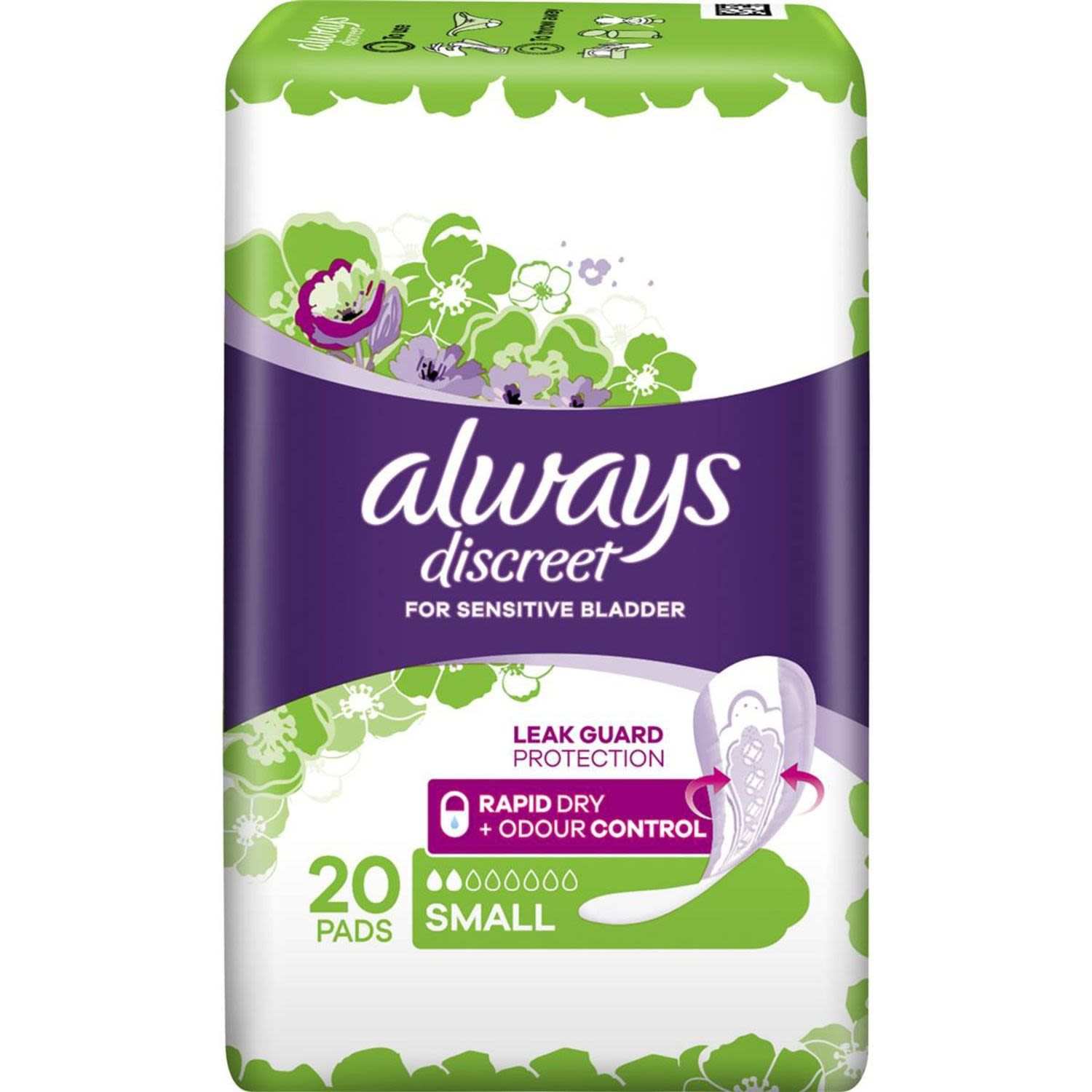 Always Discreet Pads Small, 20 Each