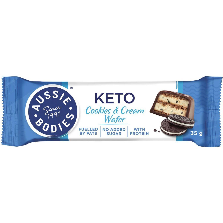 Aussie Bodies Keto Cookies & Cream Wafer, 35 Gram