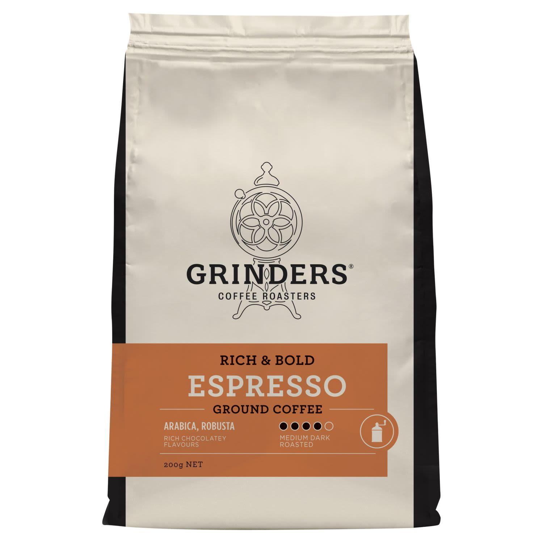 Grinders Coffee Roasters Espresso Ground Coffee, 200 Gram