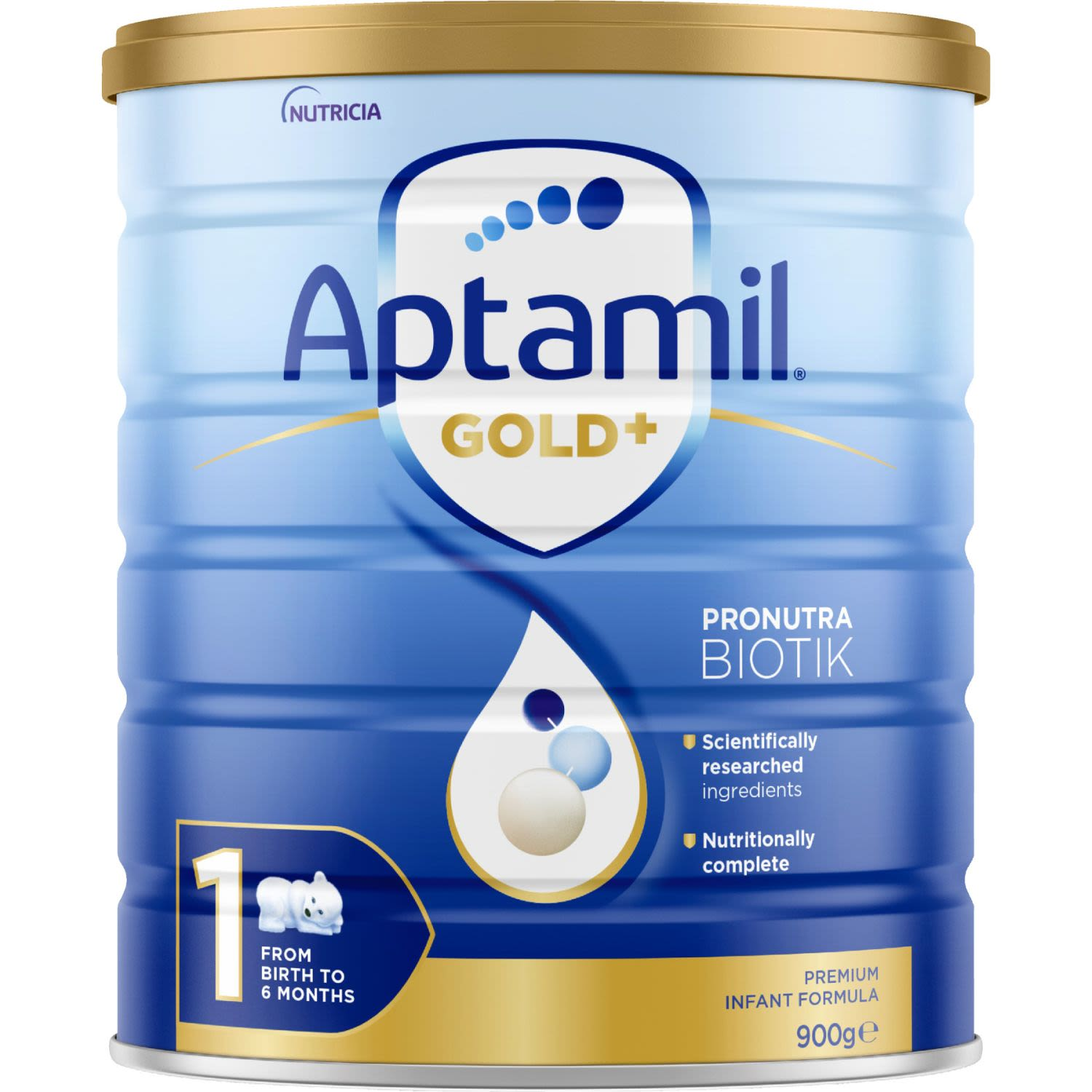 Aptamil Gold+ 1 Baby Infant Formula From Birth to 6 Months, 900 Gram
