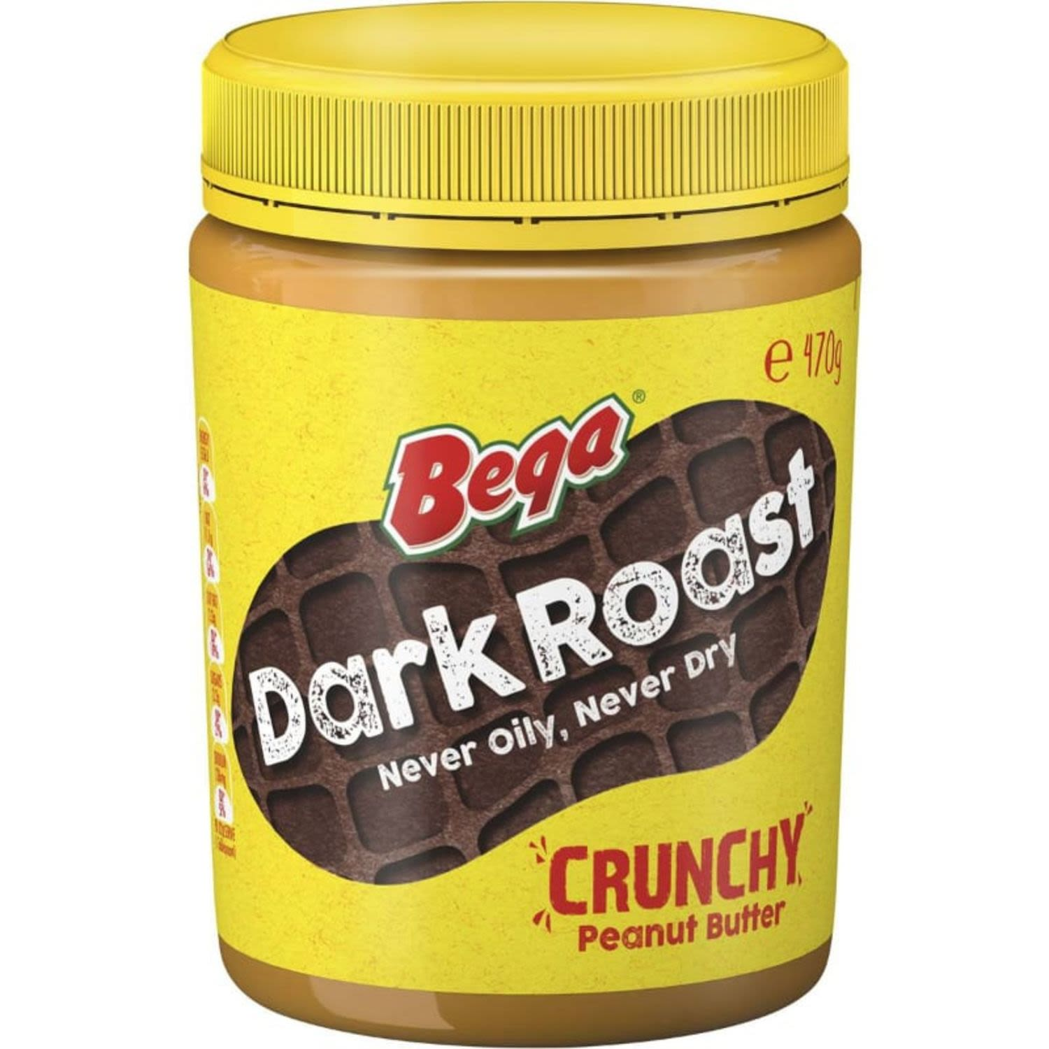 Bega Peanut Butter Crunchy Dark Roasted, 470 Gram