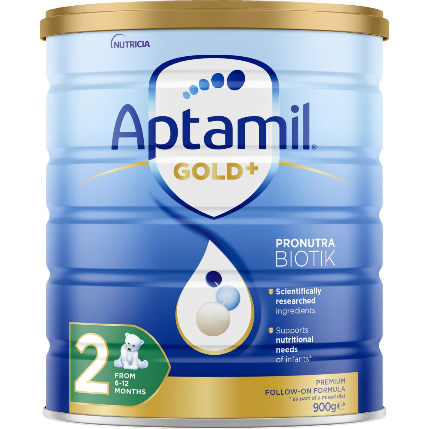Aptamil Gold+ 2 Baby Follow-On Formula From 6-12 Months, 900 Gram