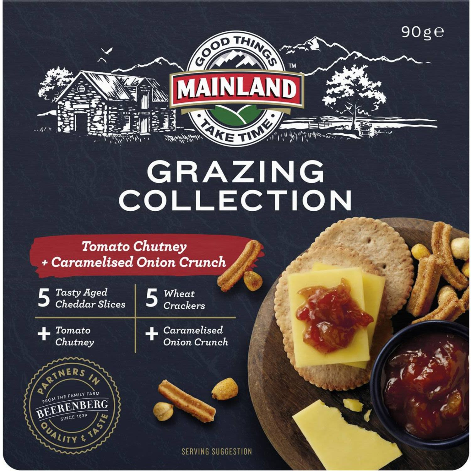 Mainland Grazing Collection Cheddar With Chutney & Crackers, 90 Gram