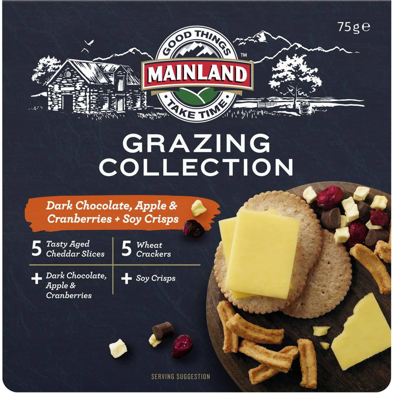 Mainland Grazing Collection Cheddar With Dark Choc Crisps & Fruit, 75 Gram