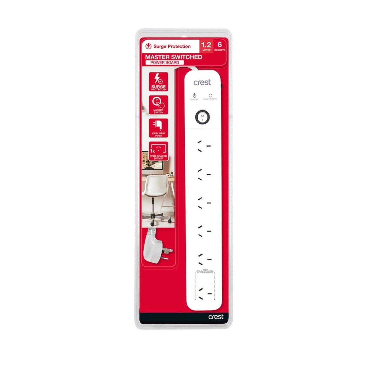 Crest Surge 6 Socket Switch Power Board, 1 Each