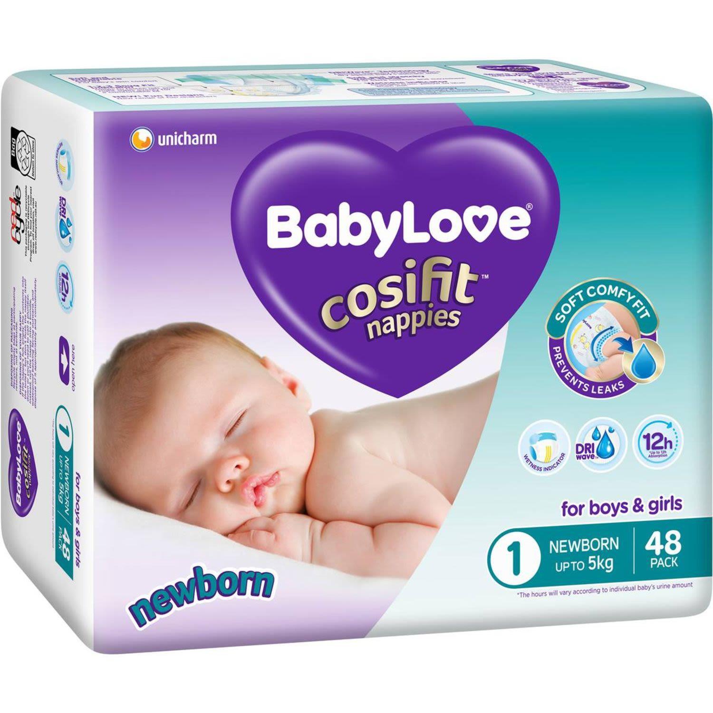 BabyLove Cosifit Bulk Nappies Newborn, 48 Each