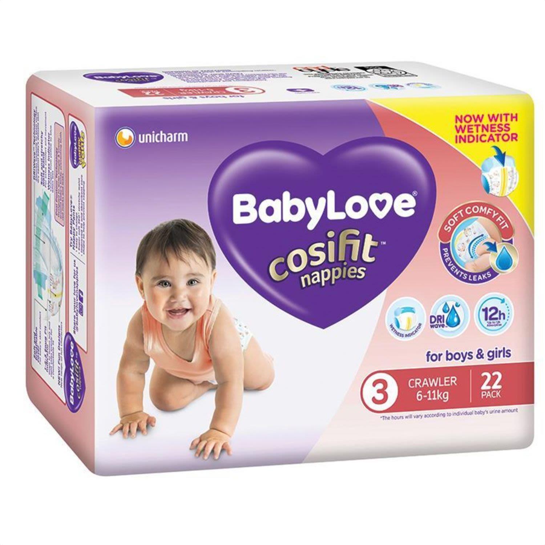 Babylove Cosifit Convenience Nappy Crawler, 22 Each