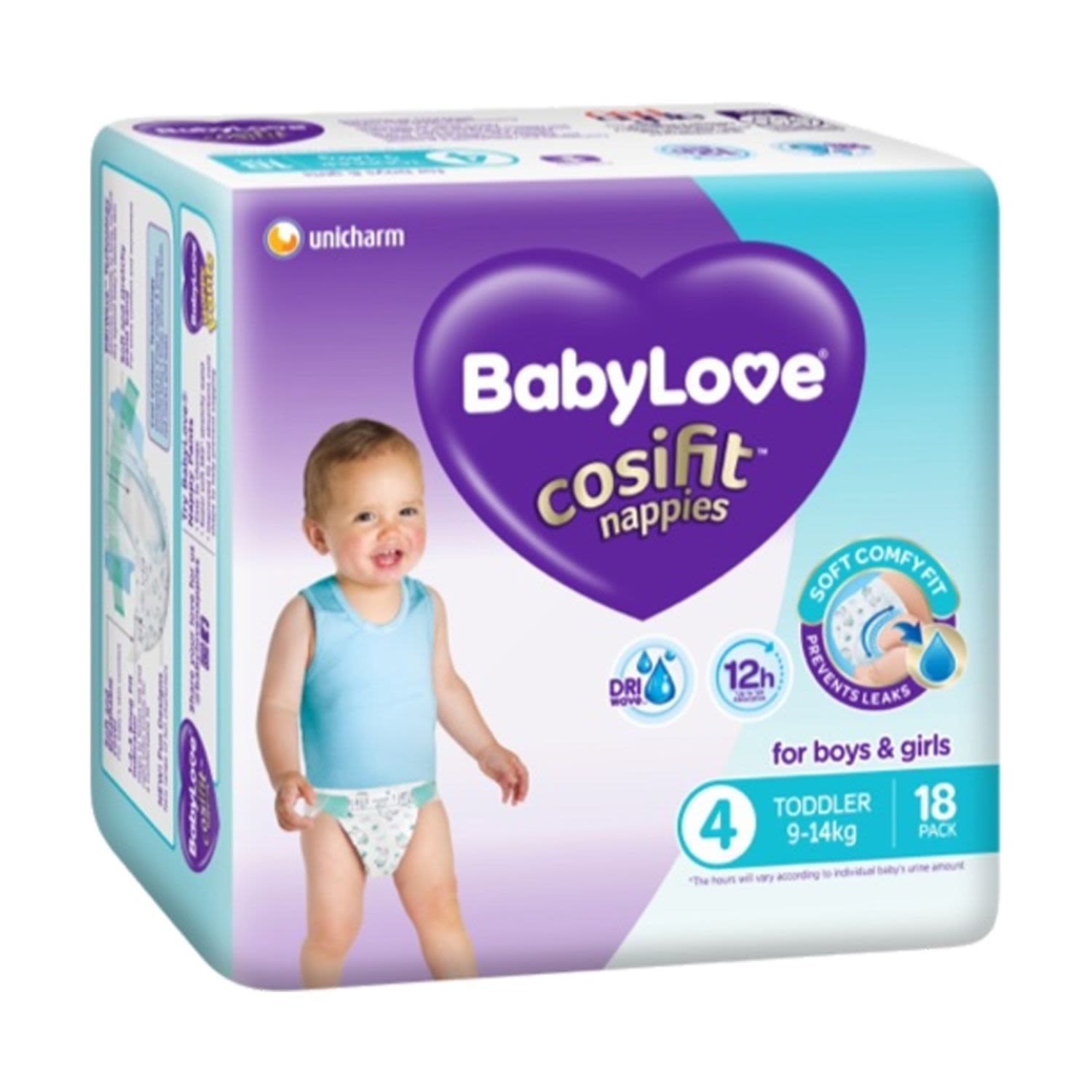 Babylove Nappy Cosifit Toddler, 18 Each
