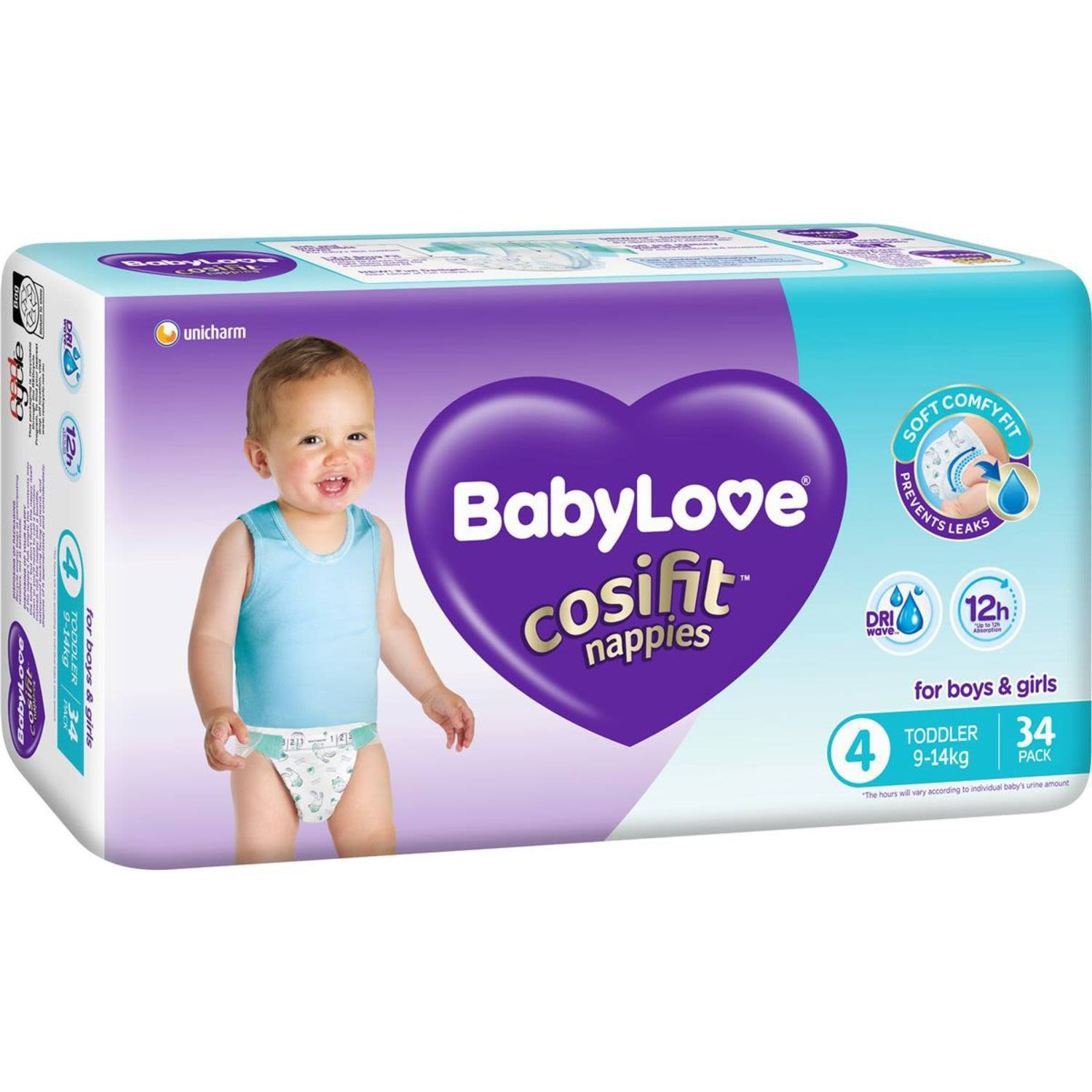 BabyLove Cosifit Bulk Nappies Toddler, 34 Each