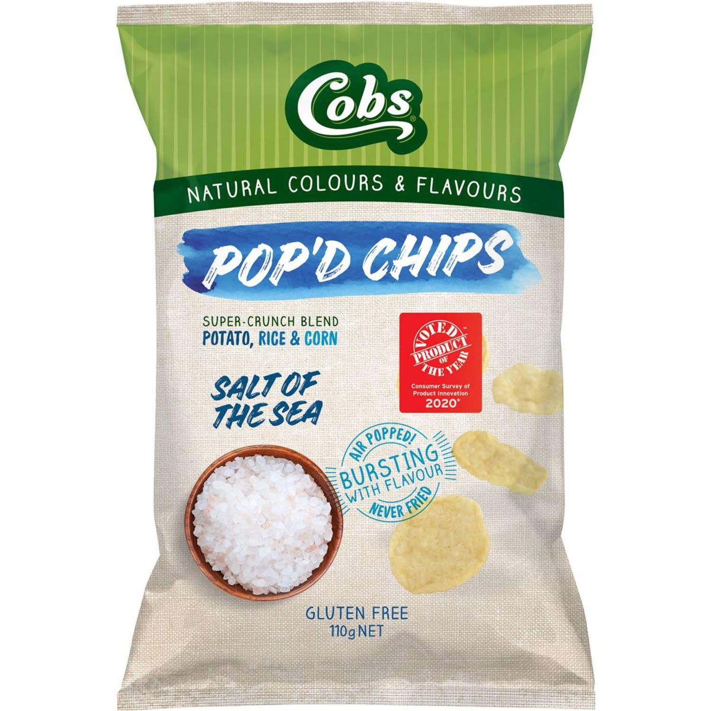 Cobs Pop'd Chips Salt Of The Sea Gluten Free, 110 Gram