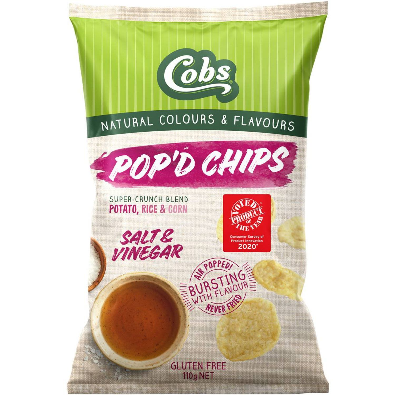 Cobs Pop'd Chips Salt & Vinegar Gluten Free, 110 Gram