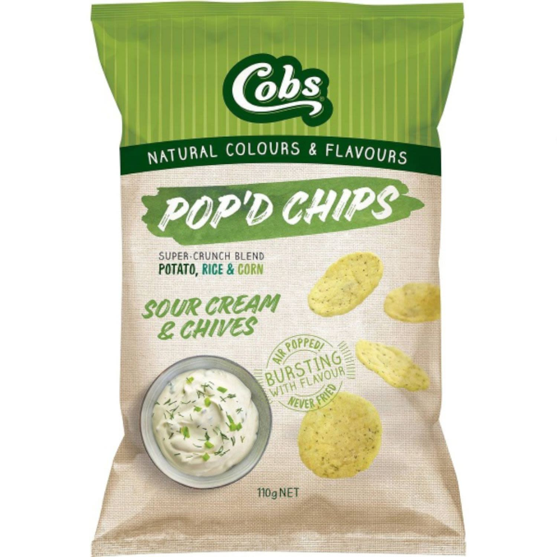 Cobs Pop'd Chips Sour Cream & Chives, 110 Gram