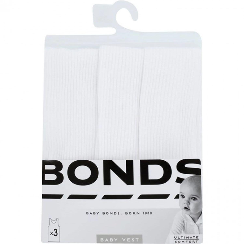 Bonds Baby Vest Basic White, 3 Each