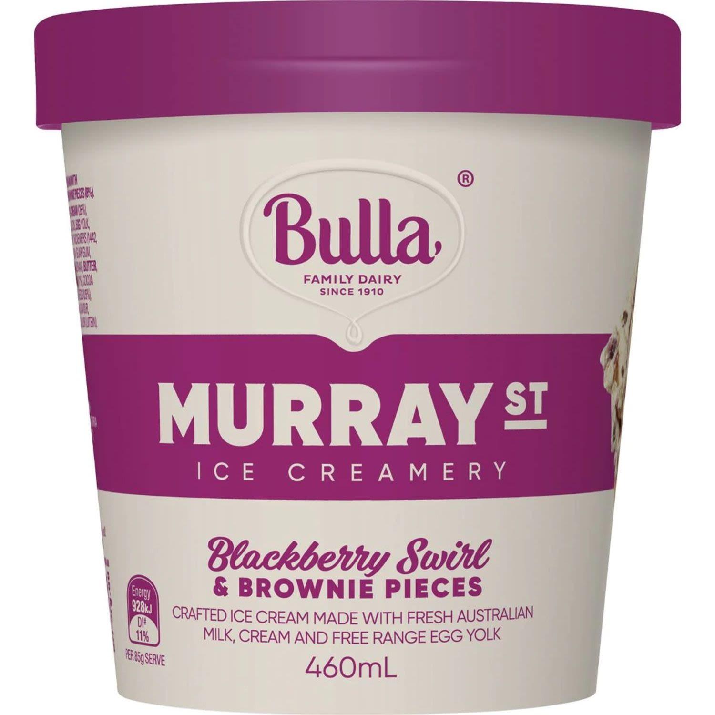 Bulla Ice Cream Murray Street Blackberry Swirl & Brownie Pieces, 460 Millilitre