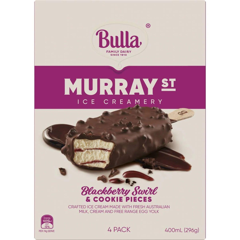 Bulla Ice Cream Murray Street Blueberry Swirl & Cookie, 4 Each