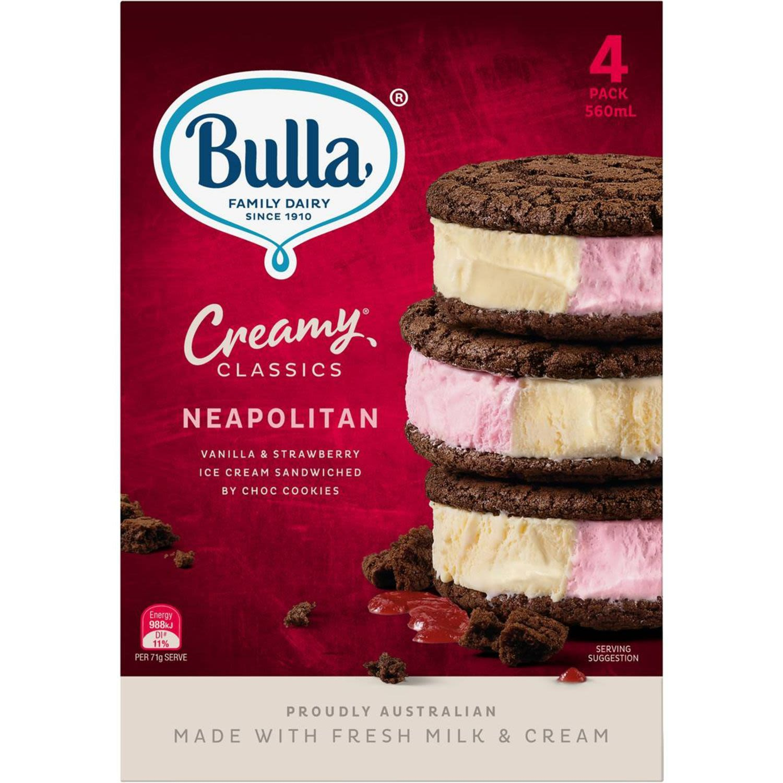 Bulla Creamy Classics Ice Cream Sandwich Neapolitan, 4 Each