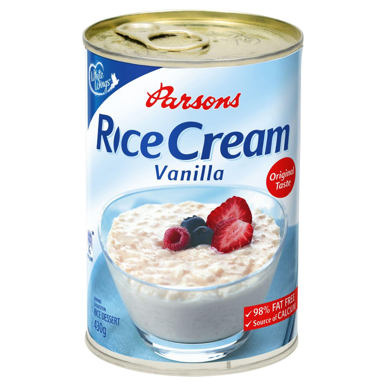 White Wings Parsons Vanilla Creamed Rice 98% Fat Free, 430 Gram