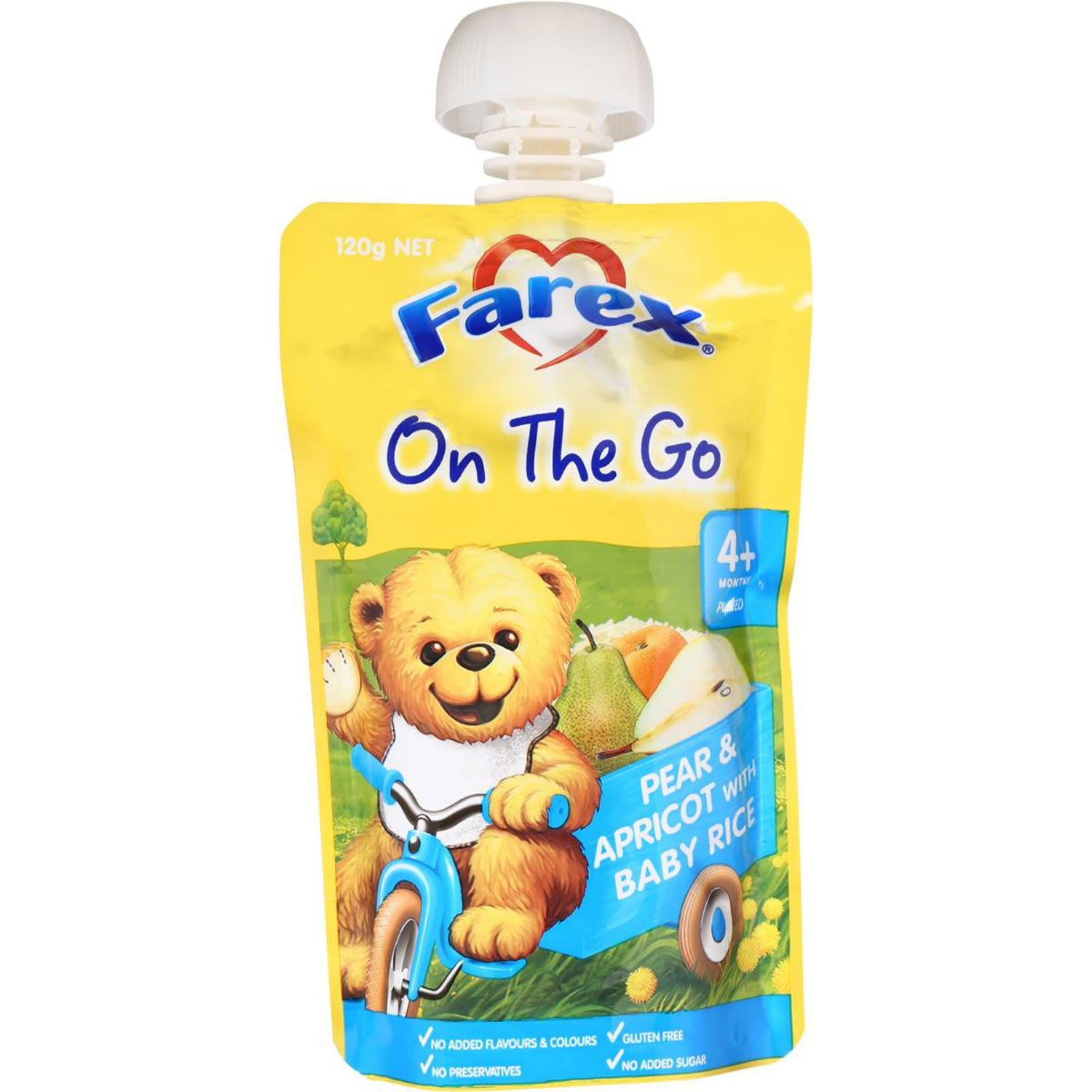 Farex Baby Breakfast To Go Rice Pear & Apricot, 120 Gram