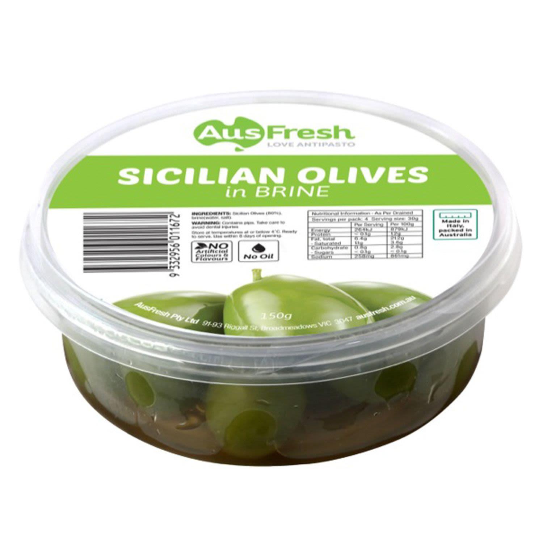 AusFresh Sicilian Olives in Brine, 150 Gram