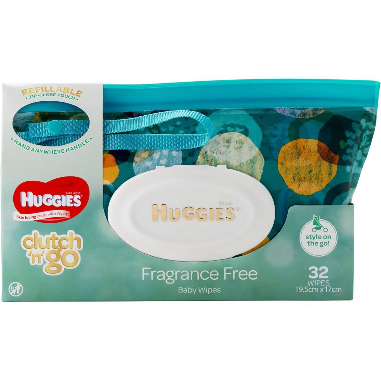 Huggies Baby Wipes Fragrance Free Clutch & Go, 32 Each