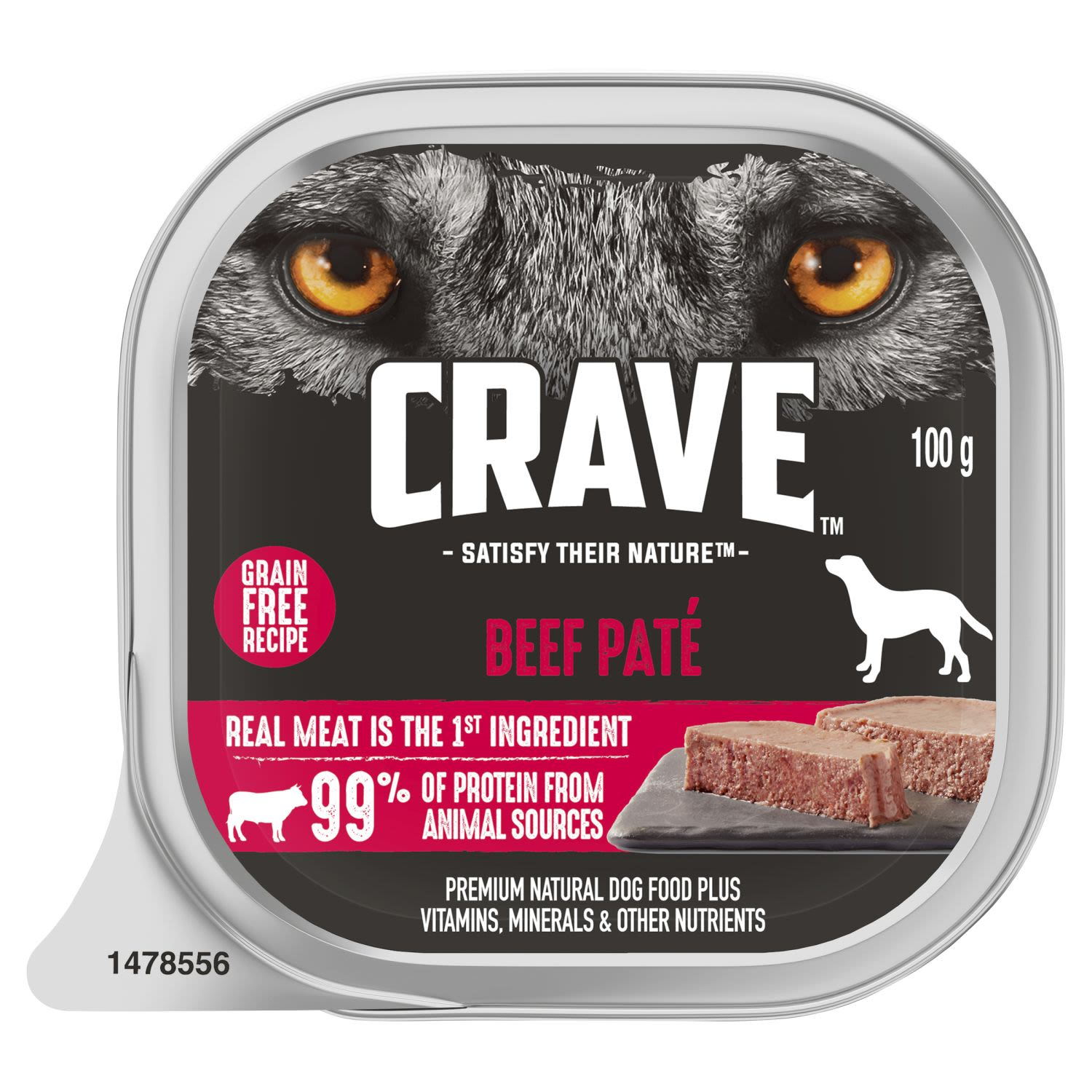 Crave Wet Dog Food Beef Pate Tray, 100 Gram