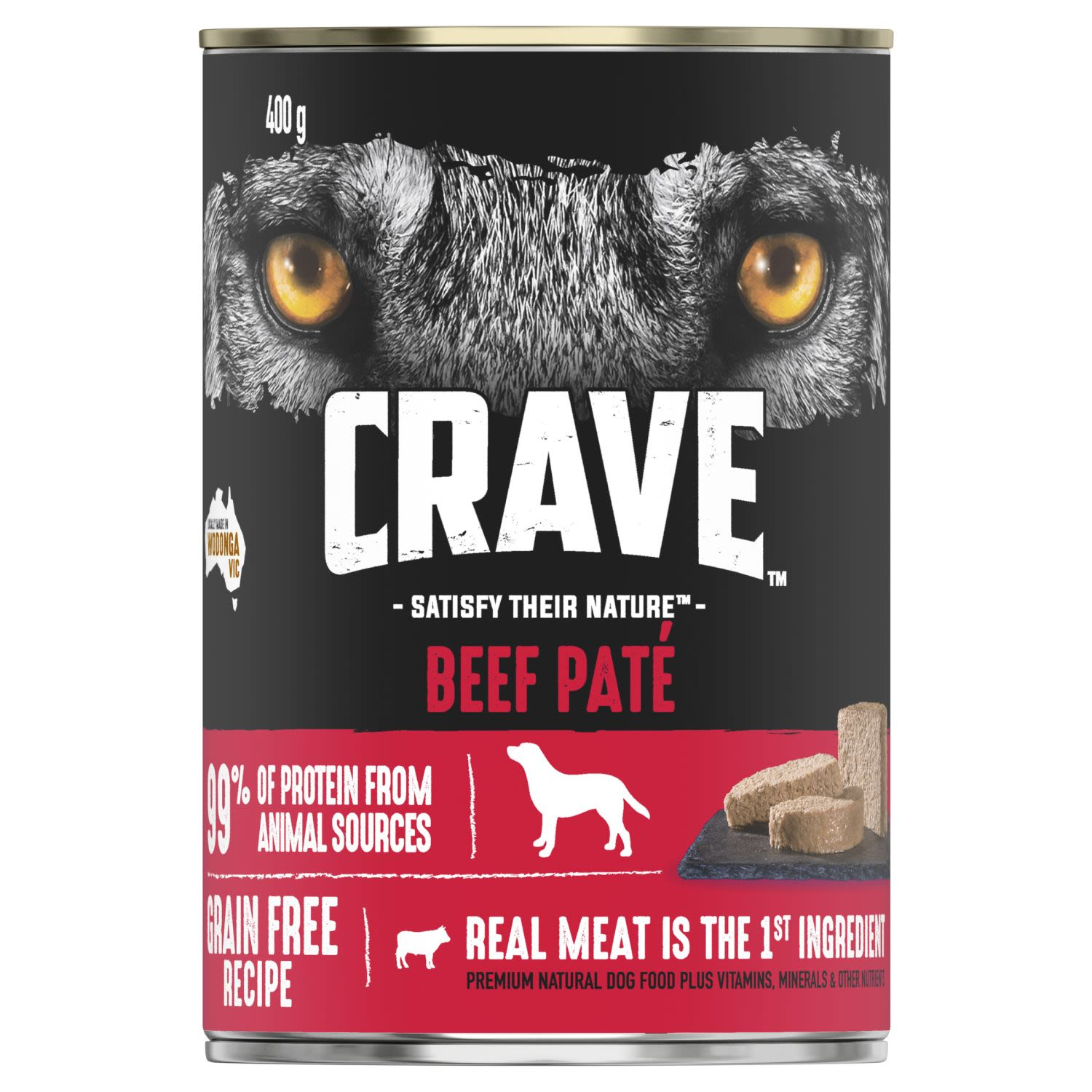Crave Wet Dog Food Beef Pate Can, 400 Gram