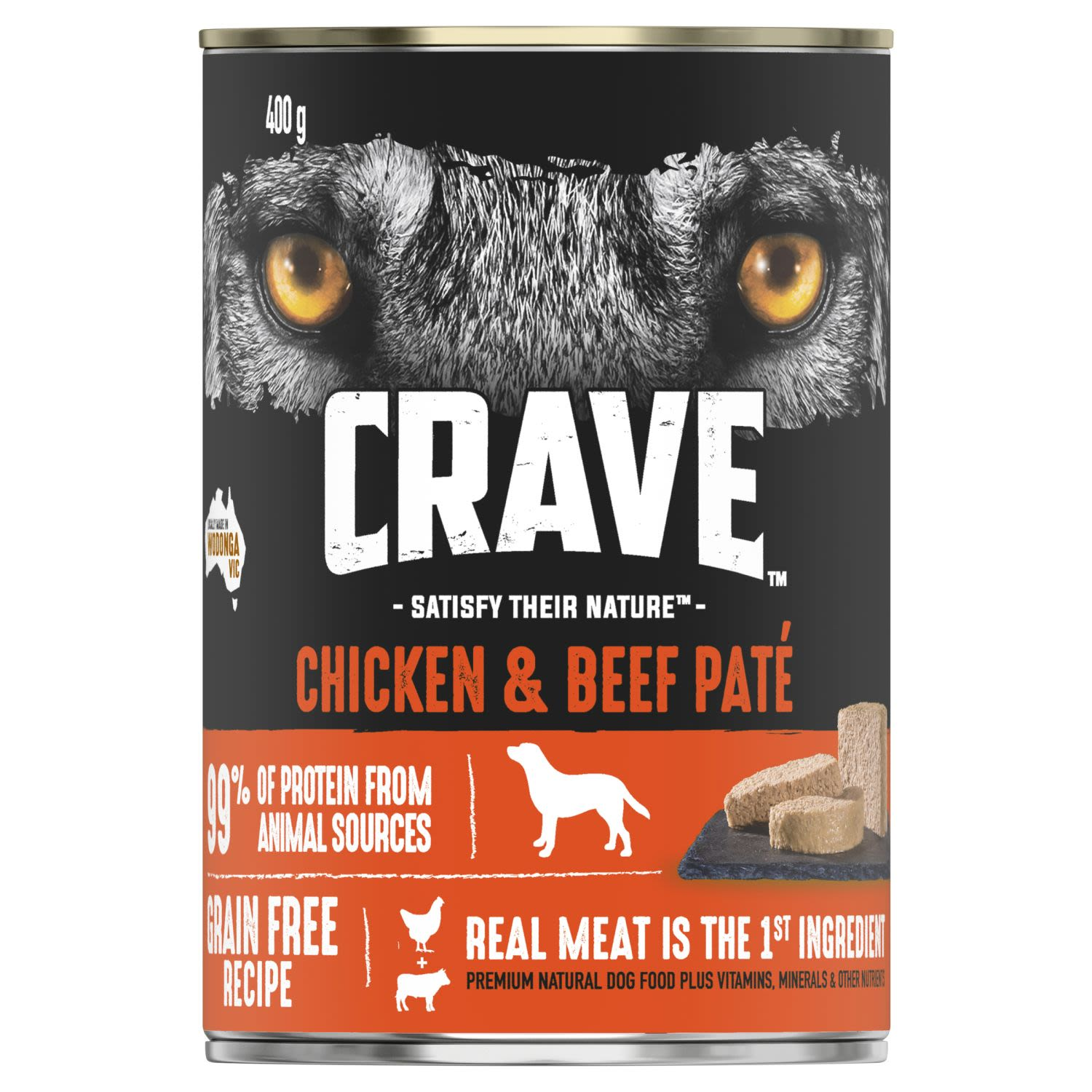Crave Wet Dog Food Chicken & Beef Pate Can, 400 Gram
