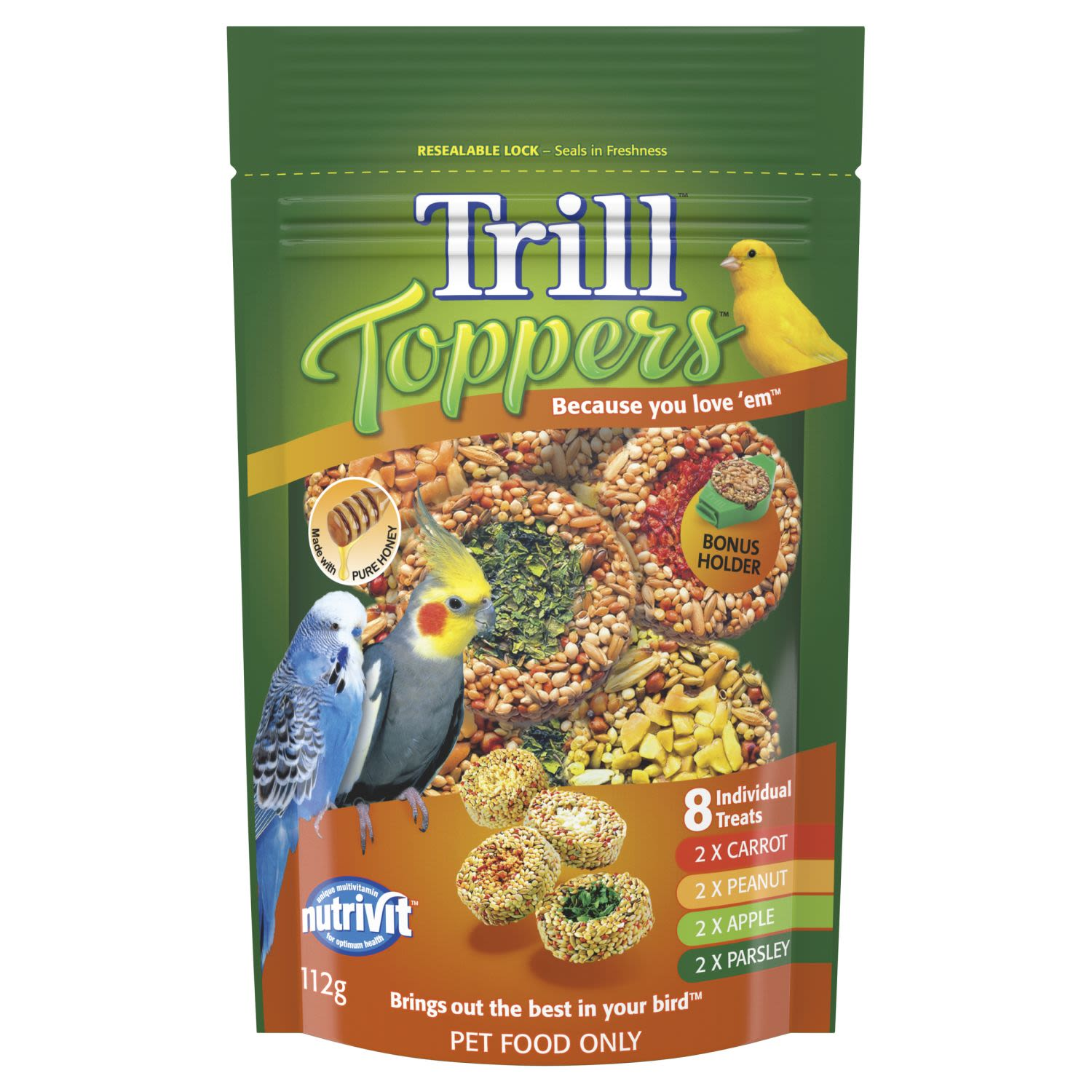 Trill Toppers Dry Bird Seed Mix Flavours Pouch, 112 Gram