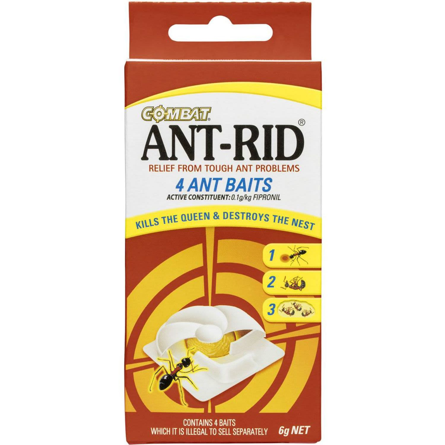 Combat Ant Rid Bait, Destroys the Nest, Insecticide, 4 Each