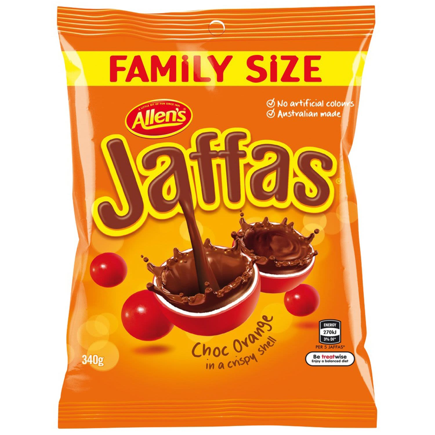 ALLEN'S Jaffas are chocolate balls covered in an orange flavoured shell. Bite into the crispy shell and let the choc orange flavour melt in your mouth. Contains no artificial colours. ALLEN'S makes smiles®