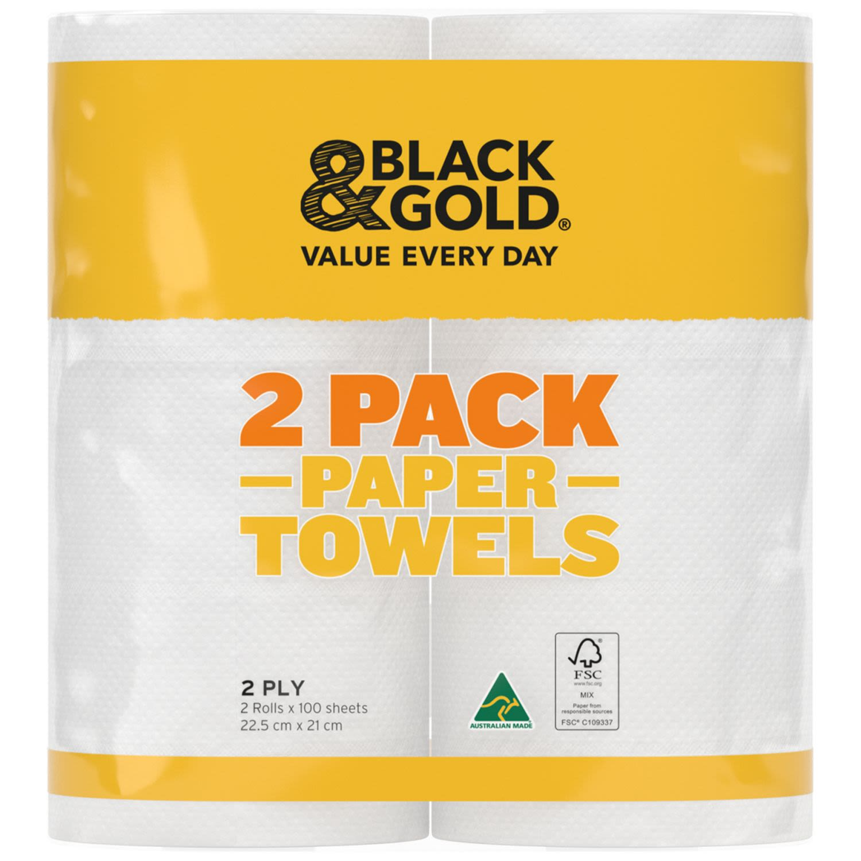 Black & Gold Paper Towel, 2 Each