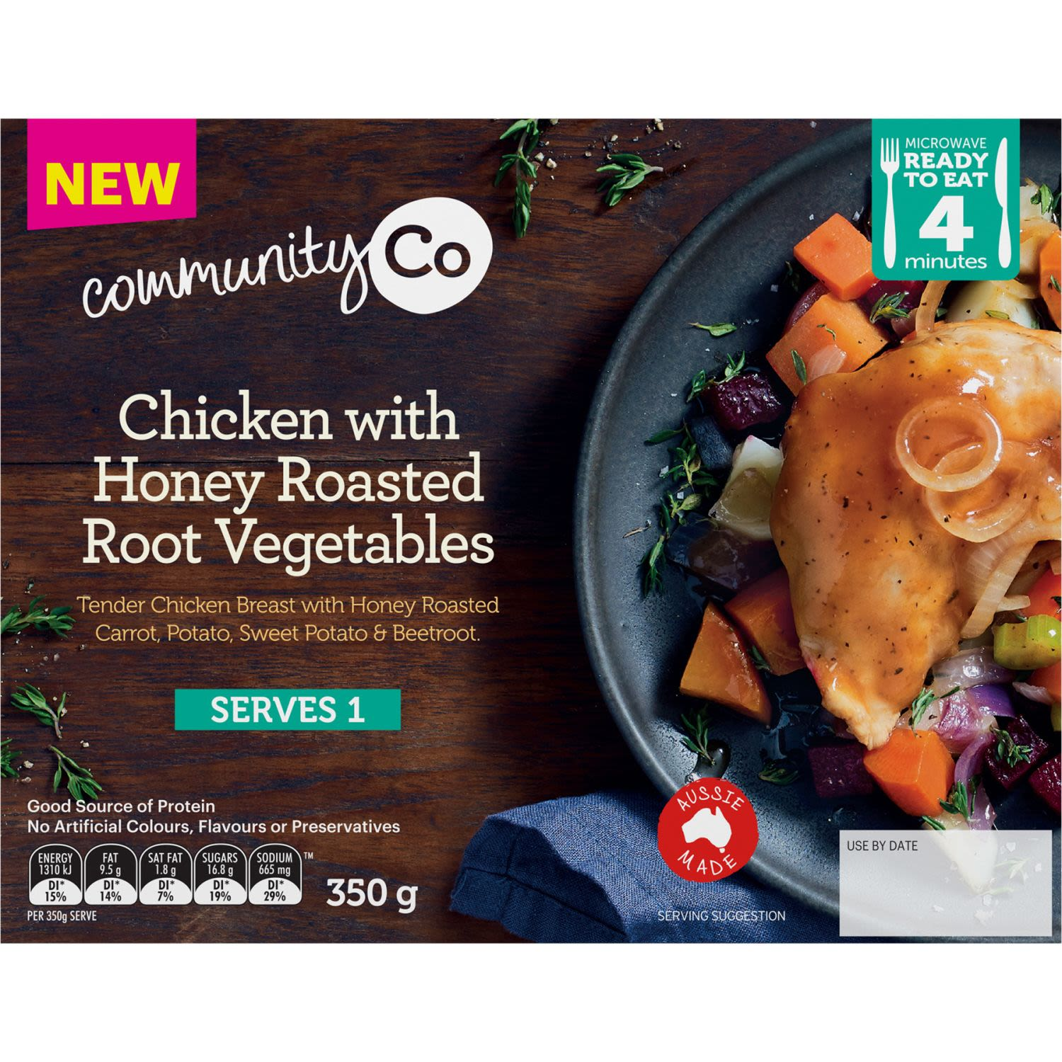 Community Co Chicken with Honey Roasted Root Vegetables, 350 Gram