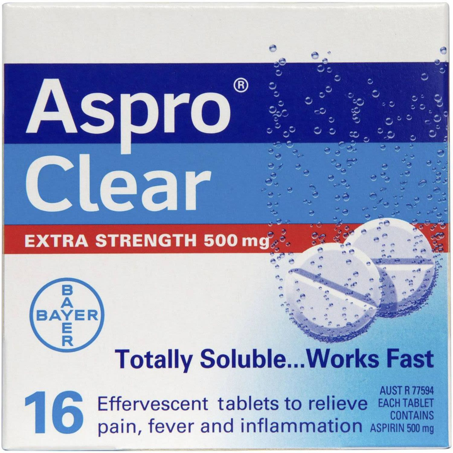 Aspro Clear Extra Strength Pain Relief Aspirin 16 Soluble Effervescent Tablets, 16 Each