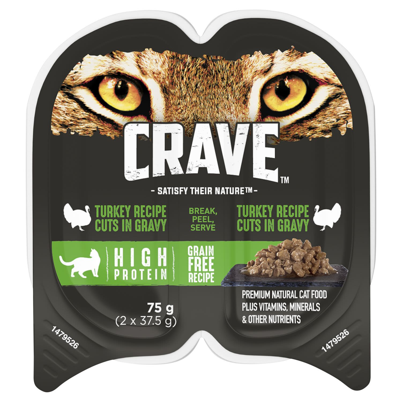 Crave Wet Cat Food Turkey Cuts in Gravy Tray, 2 Each