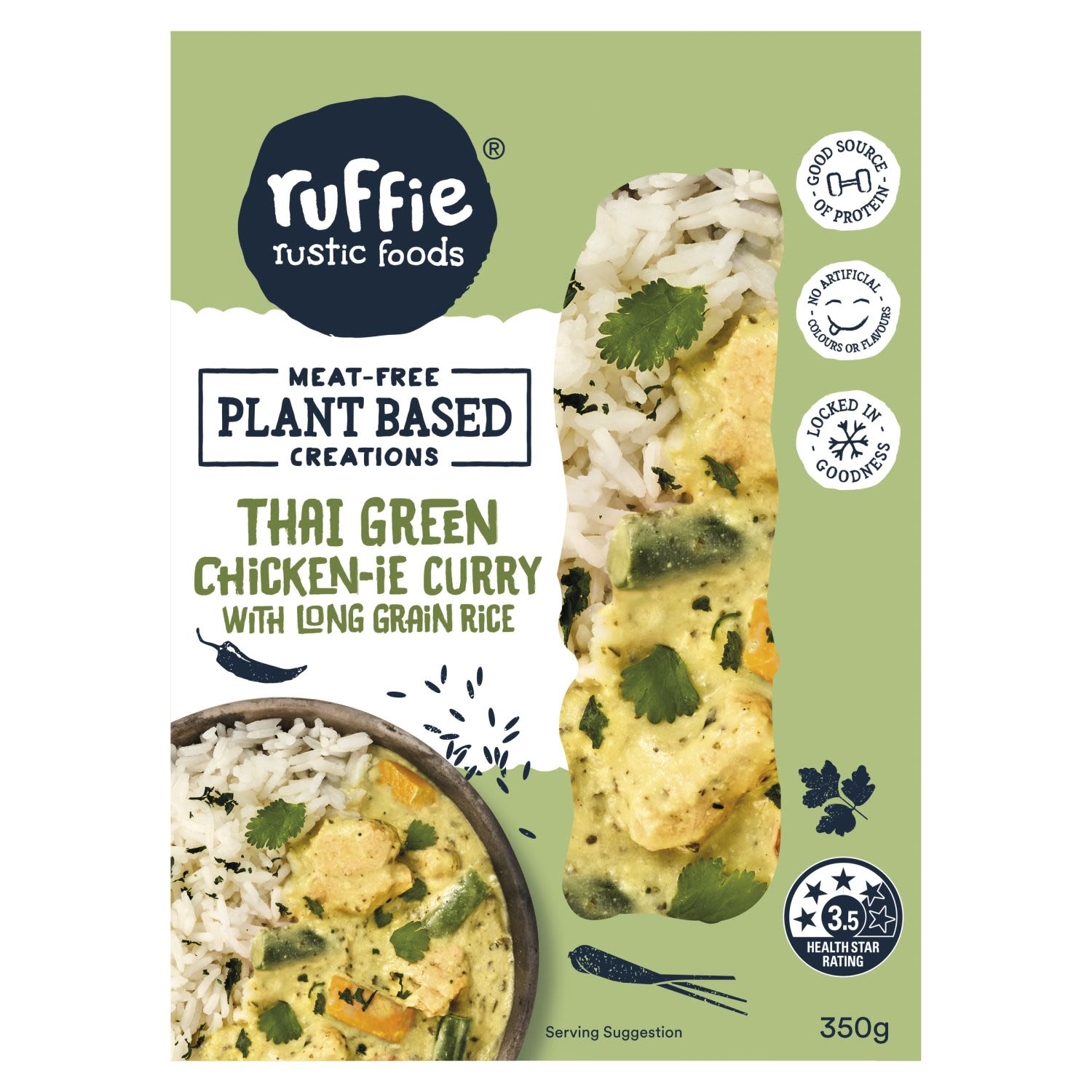 Ruffie Plant Based Thai Green Chicken-ie Curry with Long Grain Rice, 350 Gram