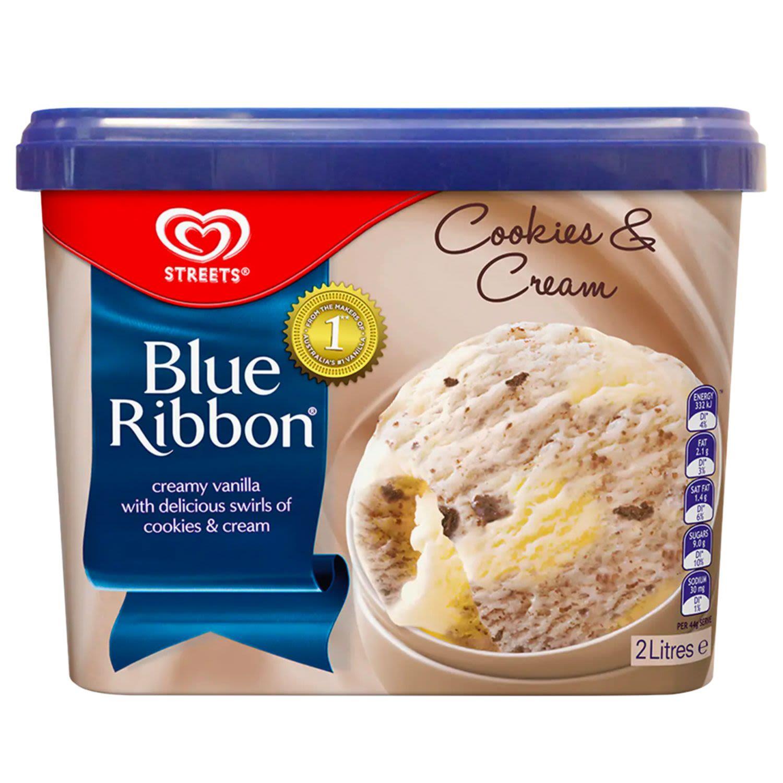 Blue Ribbon Reduced Fat Ice Cream Cookies & Cream, 2 Litre